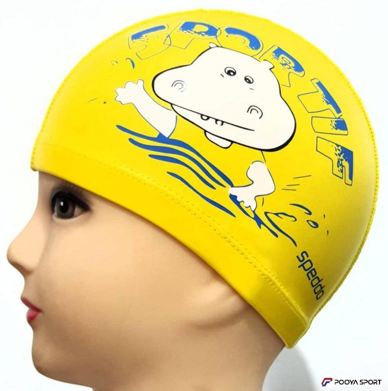کلاه شنا  بچه گانه PU طرح اسب آبی مدل Speddo